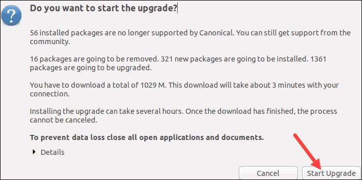 Confirm Ubuntu upgrade.