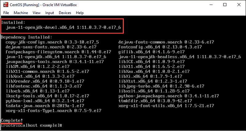 output displaying downloaded and installed JDK