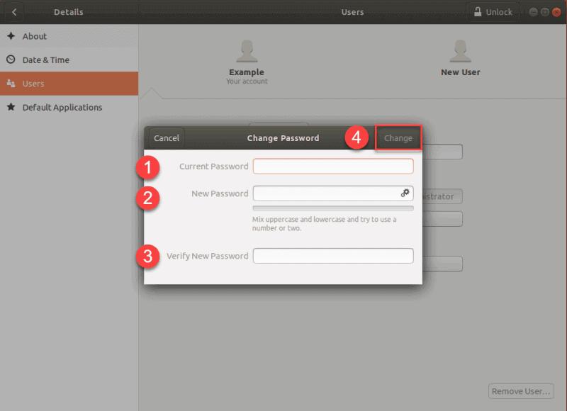 change password prompt in ubuntu