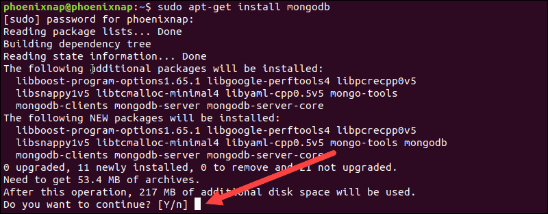 Press Y to confirm the installation process of mongo tools