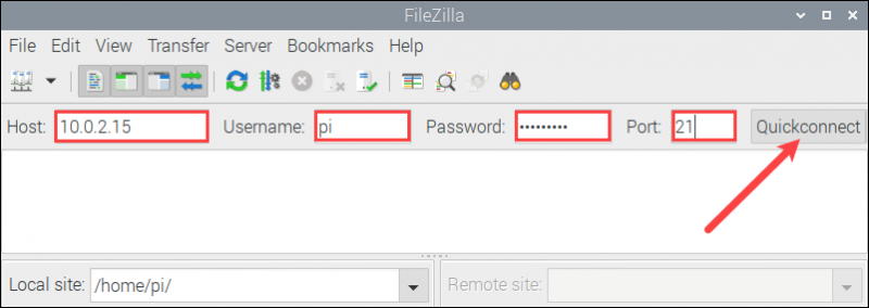 Using FileZilla to connect to an FTP server on the Raspberry Pi.
