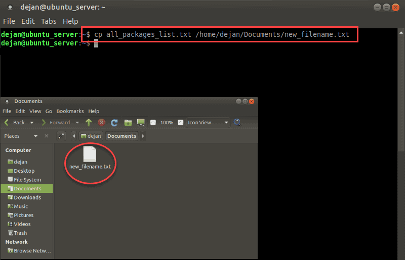 Copying a file in Linux with cp.