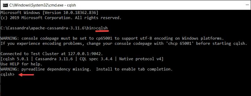 Accessing the Cassandra cql shell from windows cmd.