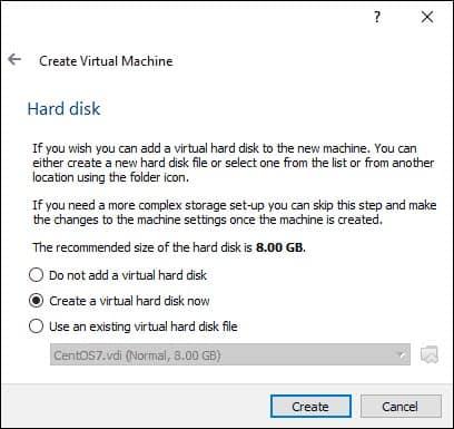 create a virtual hard disk