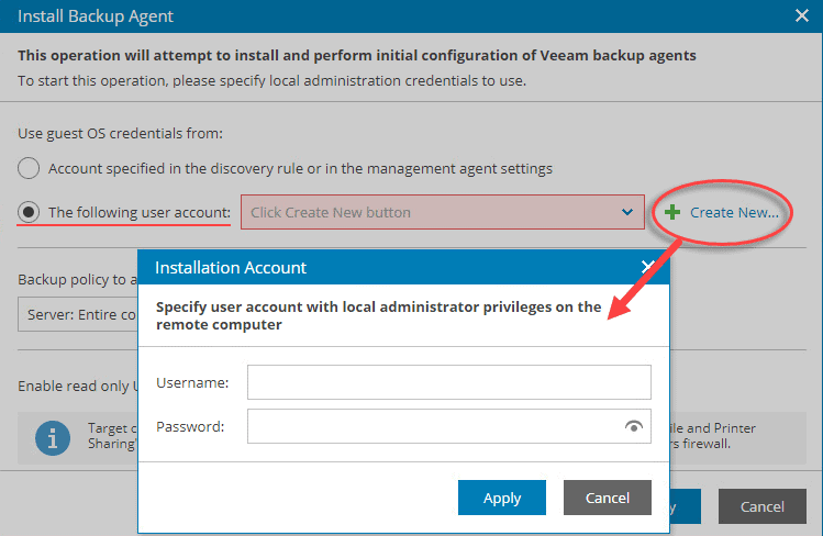 Create new user account for backup agent