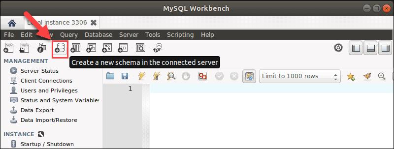 Click the schema icon in MySQL Workbench to create a new schema.