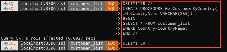 Create a stored procedure in MySQL Shell.