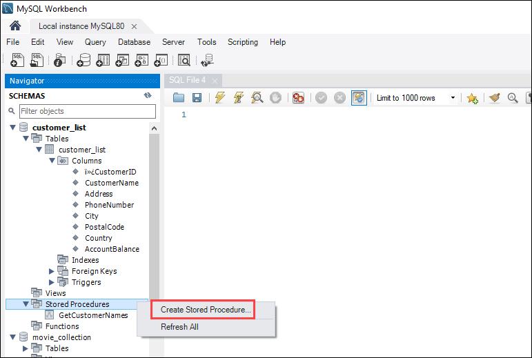 Create a stored procedure using MySQL Workbench - step 1.