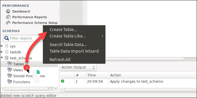 Create a table in Workbench