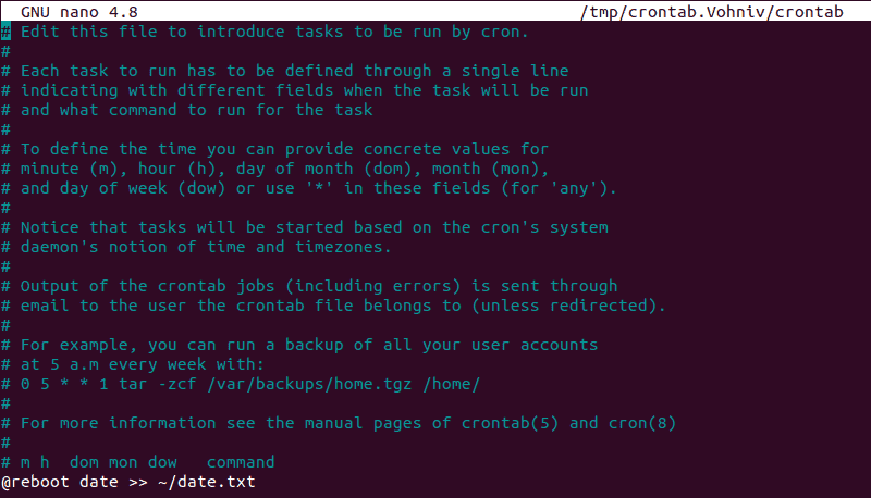 Updating the cron job list