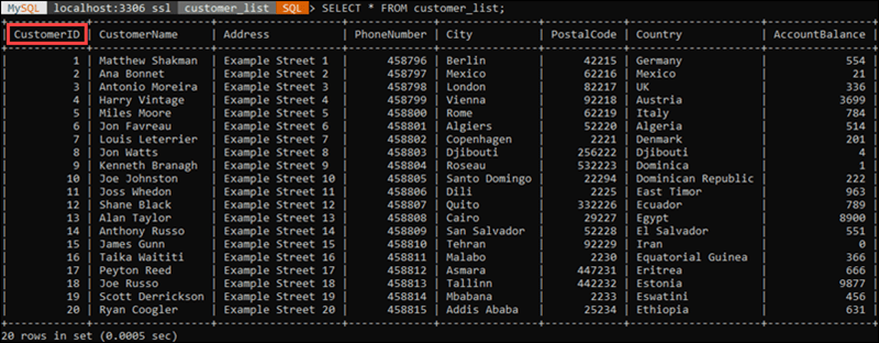 Contents of an example table in MySQL.