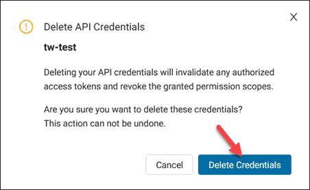 Delete API credentials confirmation box.
