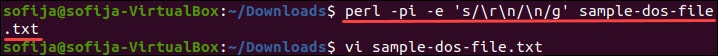 Delete carriage return endings using a Perl one-liner command.