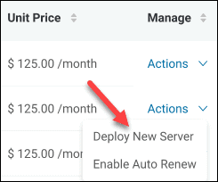 Deploy New Server using an existent reservation