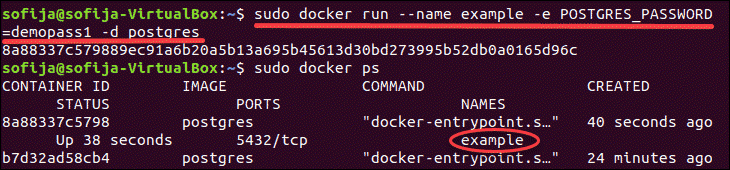 A single command for deploying Postgres in a Docker container.