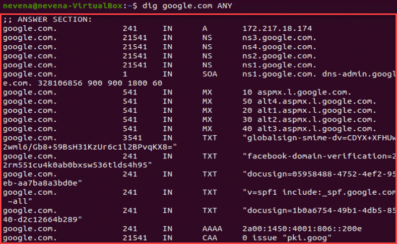 dig ANY returns a detailed list of DNS records