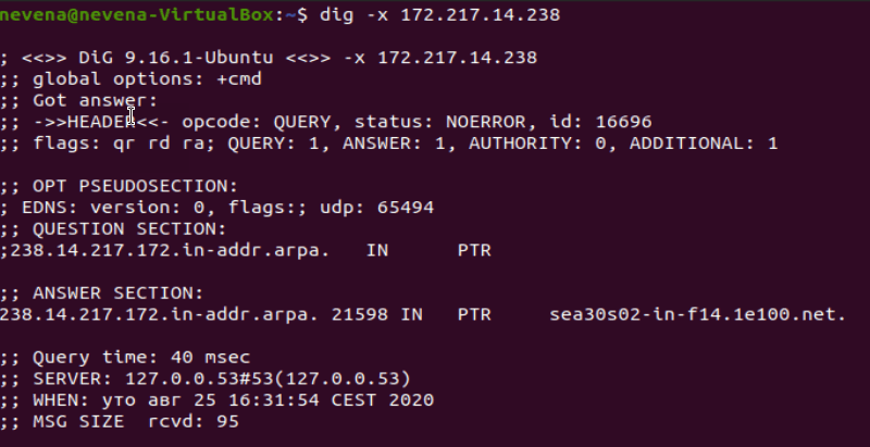 Checking the domain name by using IP address with dig command
