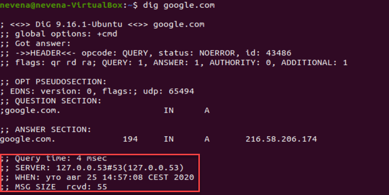 How to read query time section of dig command