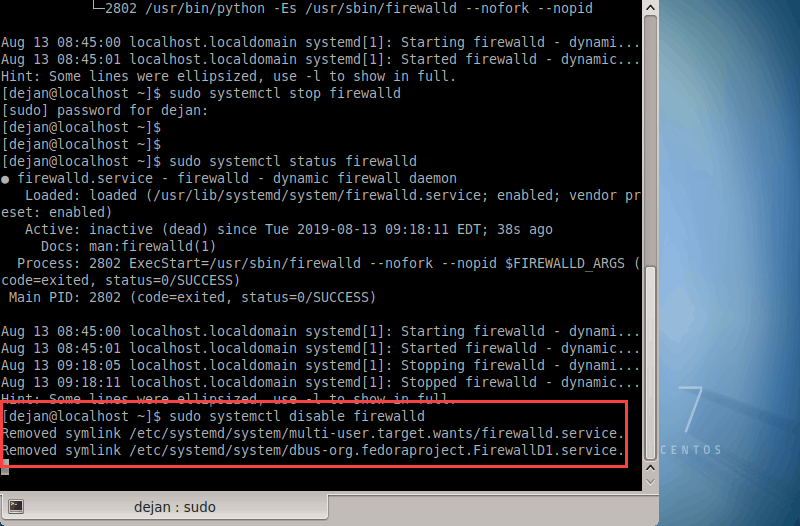 example screenshot of permanently disabled firewalld on CentOS