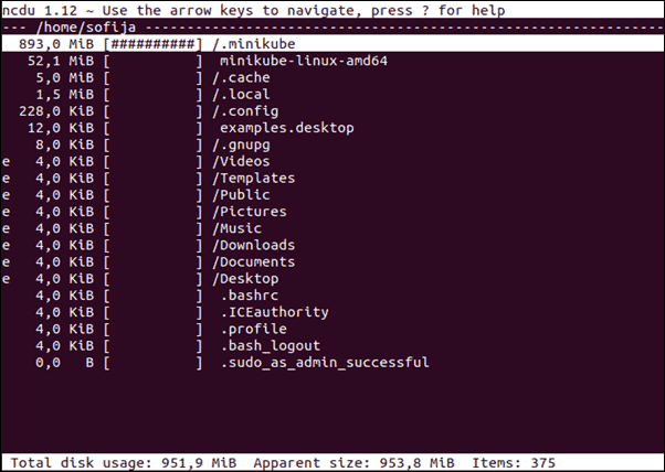 Display Disk Usage Using the ncdu command.