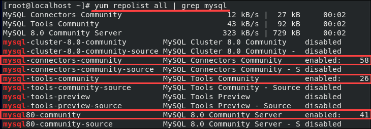 output of a list of MySQL repositories