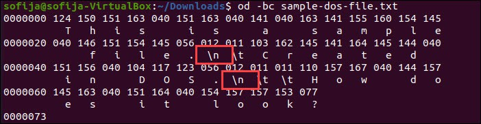 Display Unix file content in octal values.