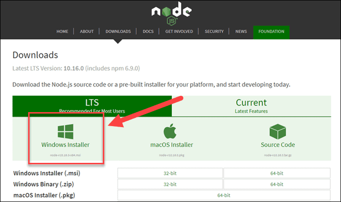 Location of download link of NodeJS installer.