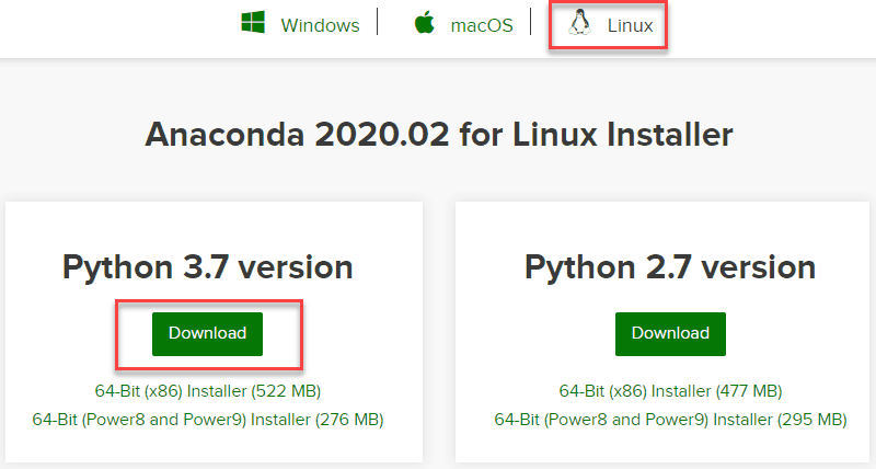 Downloading Anaconda for python 3.7 from the official website