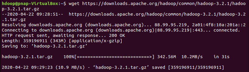 Downloading the official Hadoop version specified in the link.