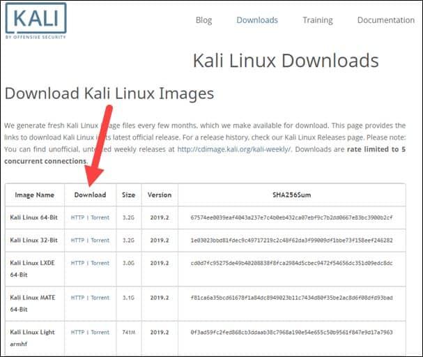 download kali linux images
