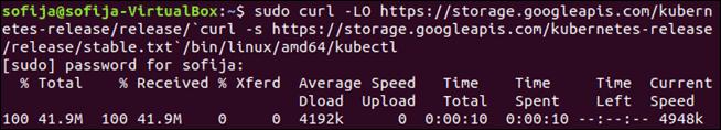Download Kubectl binary on Ubuntu.
