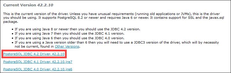 List of available JDBC posgreSQL drivers.