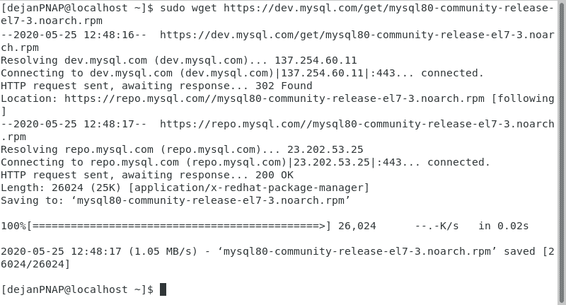 Download MySQL repository packages.