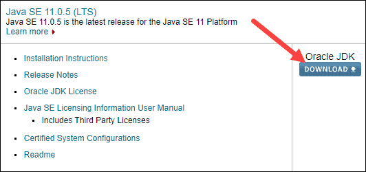 Oracle Java download page and button for downloading JDK 11.