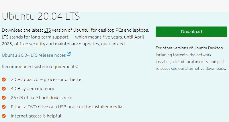 screenshot of Download Ubuntu 20.04lts iso file