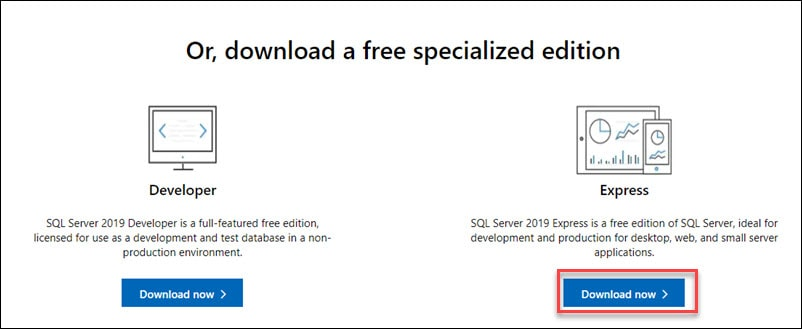Download SQL Express server.