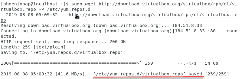 Confirmation of downloading and saving the virtualbox repository file