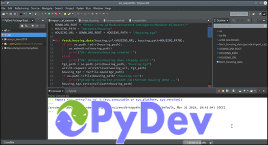 Eclipse IDE with Pydev with the official PyDev logo on the bottom