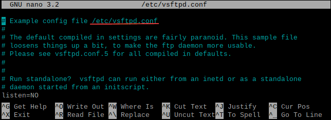 Editing vsftpd configuration file using nano text editor.