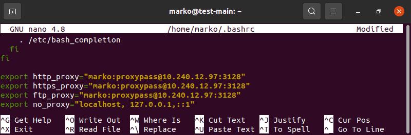 Editing .bashrc file in Nano