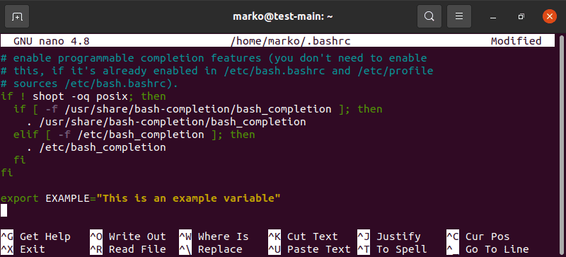 Editing the .bashrc file in nano