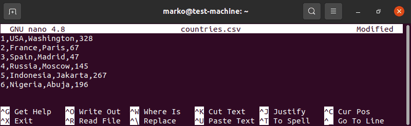 Editing a CSV file in Nano.