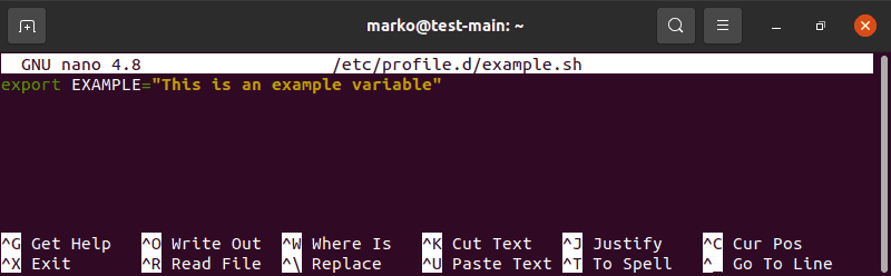 Editing the file in the /etc/profile.d folder in nano