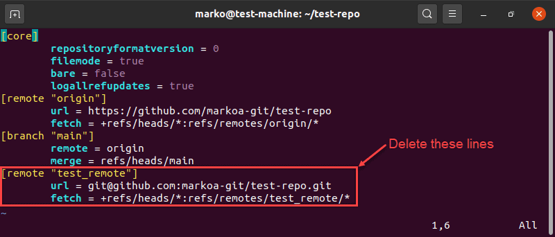 Removing remotes by editing the git configuration file