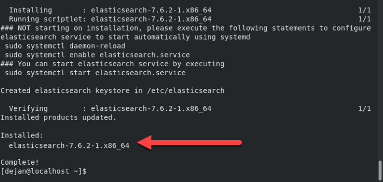 Image of a successfully completed Elasticsearch installation