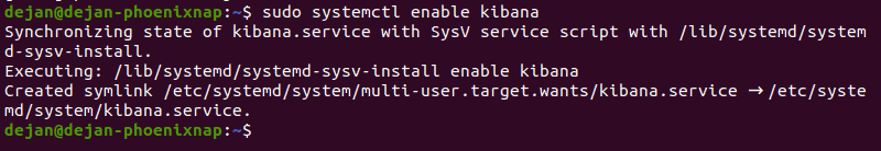 The command to enable the Kibana service on Ubuntu and the expected output.
