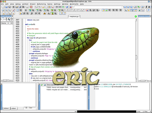 Eric Python IDE with the official logo in the center