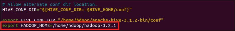 Add the hadoop_home variable to the Hive configuration file.