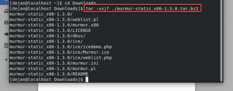 Extracting the murmur tarball in the terminal.