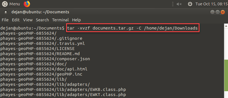 how to unzip a tar.gz file to a specific destination in Linux